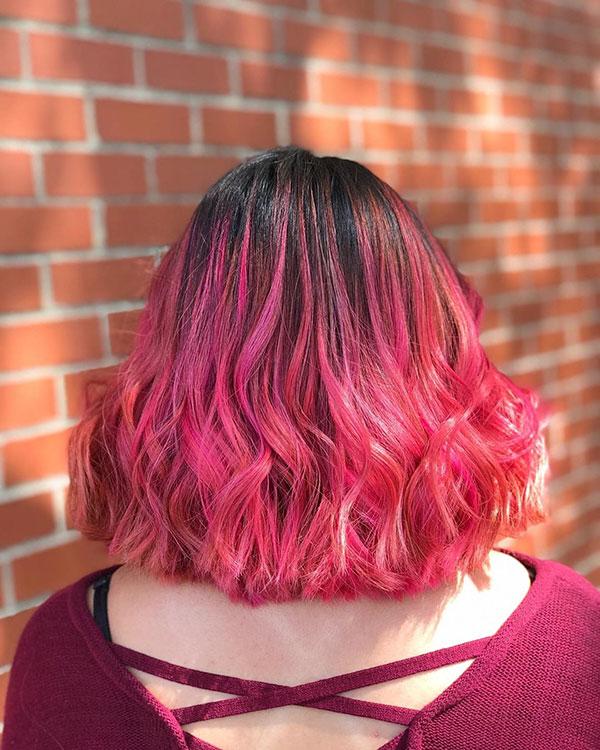 Medium Hairstyles For Pink Hair