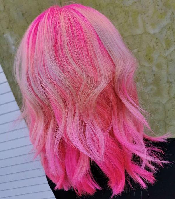 Pink Medium Hairstyles In 2020