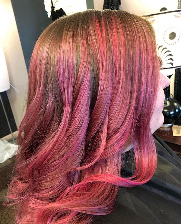 Medium And Pink Hair