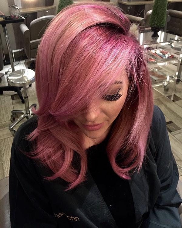 Medium Haircuts For Pink Hair