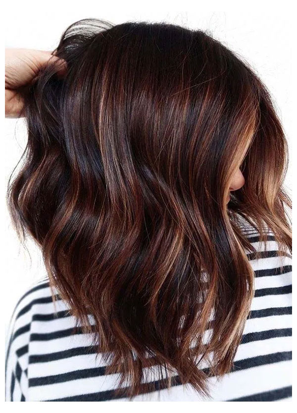 Brown Medium Hair With Highlights