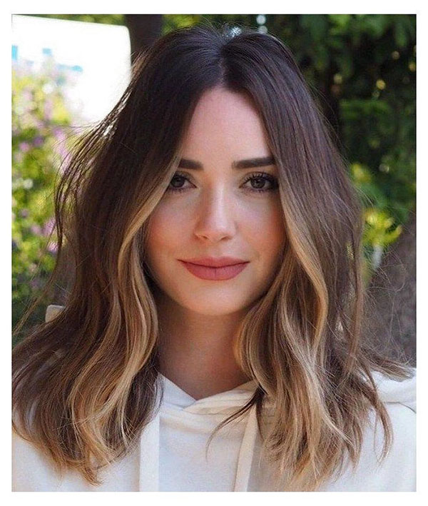 Brown Medium Hairstyles With Highlights